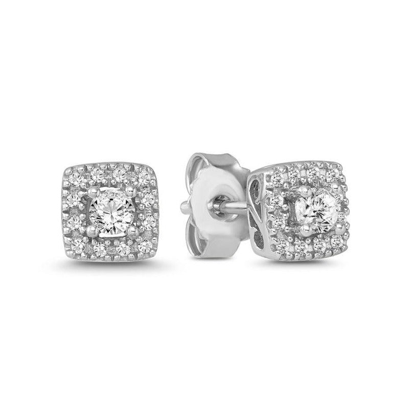1/4 Carat Diamond Square Halo Studs in 10K White Gold