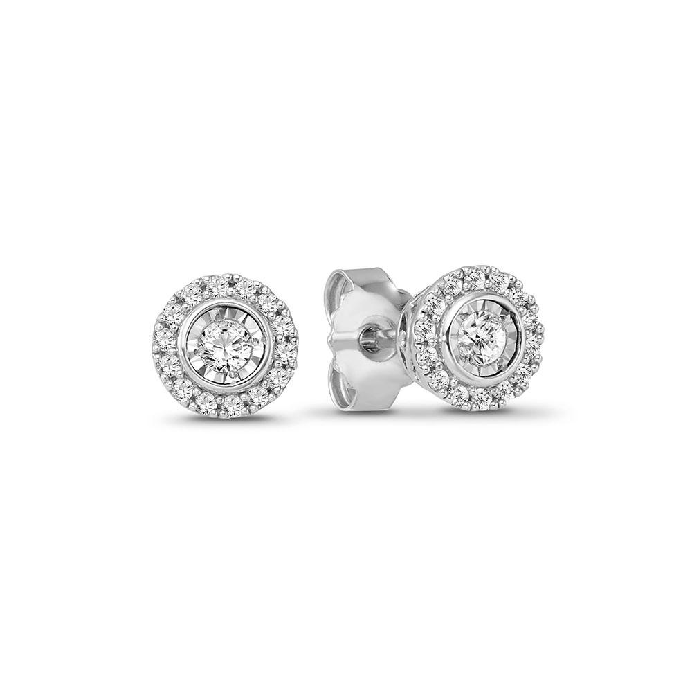 1/4 Carat Diamond Halo Stud Earrings in 14K White Gold