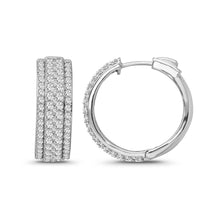 Load image into Gallery viewer, 3.25 Carat Diamond Hoop Earrings in 14K White Gold