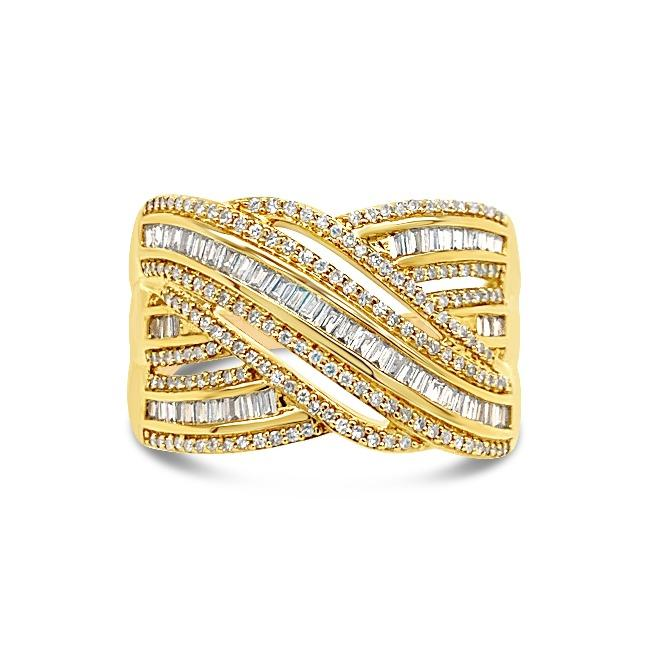 1/2 Carat Diamond Crossover Ring in 10K Yellow Gold