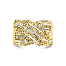 Load image into Gallery viewer, 1/2 Carat Diamond Crossover Ring in 10K Yellow Gold