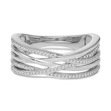 Load image into Gallery viewer, 1/6 Carat Diamond Criss-Cross Ring in Sterling Silver