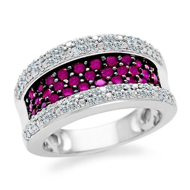 1.00 Carat tw Pink Sapphire & Diamond Ring in Sterling Silver