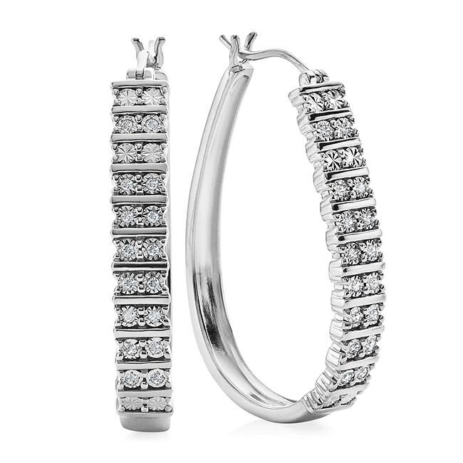 Diamond Miracles Collection: 1/4 Carat Diamond Hoops in Sterling Silver