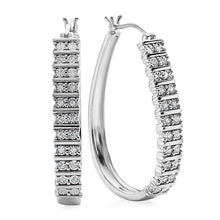 Load image into Gallery viewer, Diamond Miracles Collection: 1/4 Carat Diamond Hoops in Sterling Silver