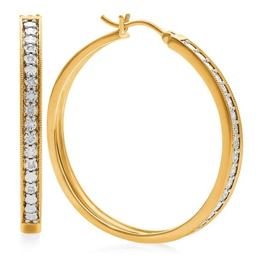 1/10 Carat Diamond Miracle Hoops in Gold-Plated Sterling Silver