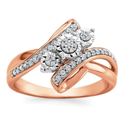 1/6 Carat Diamond Ring in 14K Rose Gold/Sterling Silver