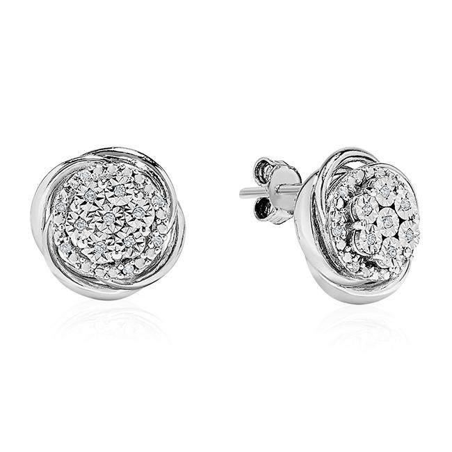 Diamond Accent Flower Stud Earrings in Sterling Silver