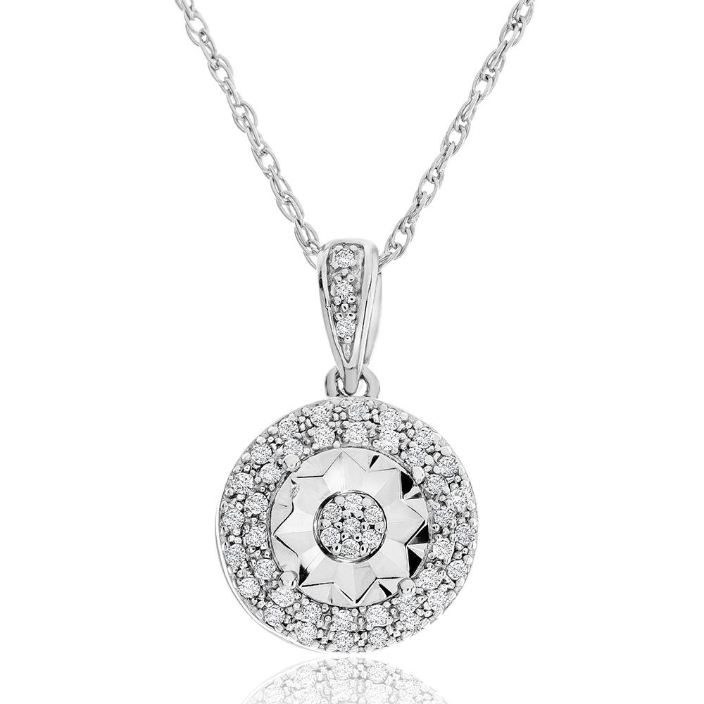 "1/10ct Diamond Double Halo Pendant in Sterling Silver with 18"" Chain"