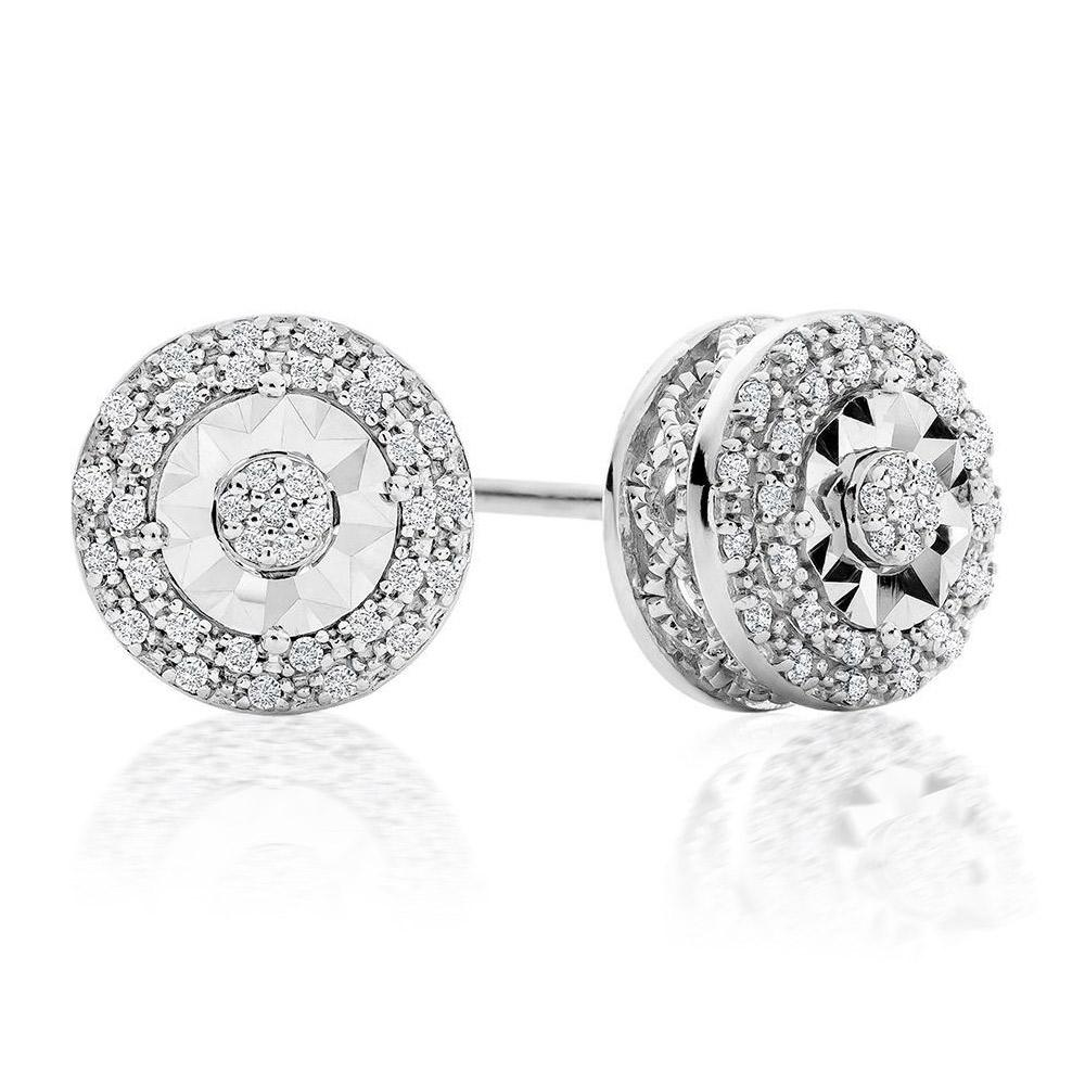 1/10ct Diamond Double Halo Stud Earrings in Sterling Silver