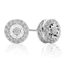Load image into Gallery viewer, 1/10ct Diamond Double Halo Stud Earrings in Sterling Silver