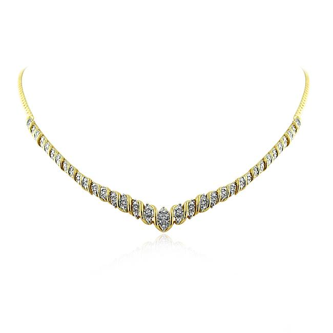 0.50 Carat Diamond Necklace in Gold-Plated Sterling Silver - 18""