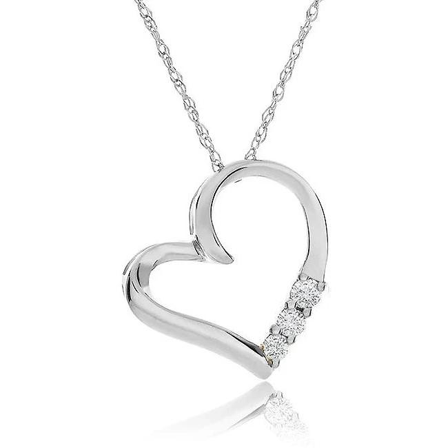 "10K White Gold 3-Stone Diamond Heart Pendant with 18"" Chain"