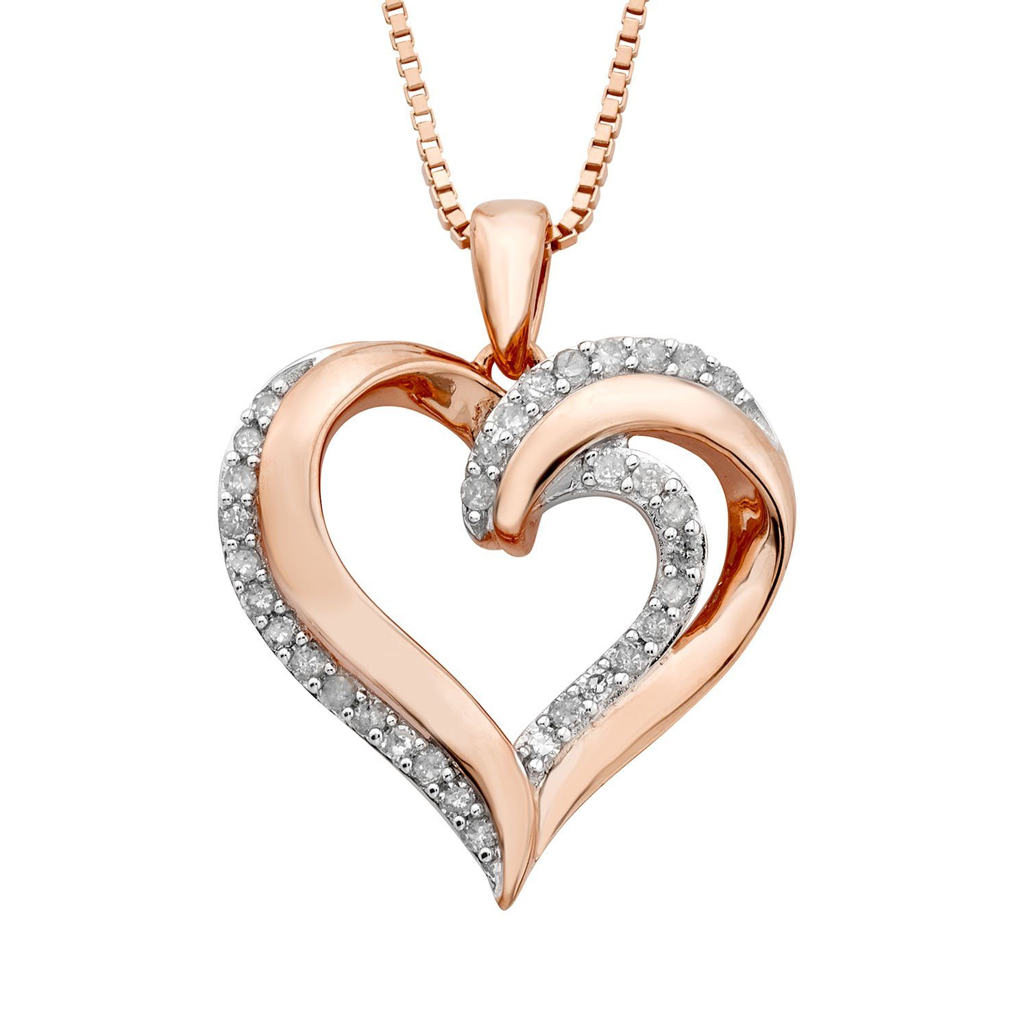1/4 Carat Diamond Heart Pendant in Rose Gold-Plated Sterling Silver - 18""