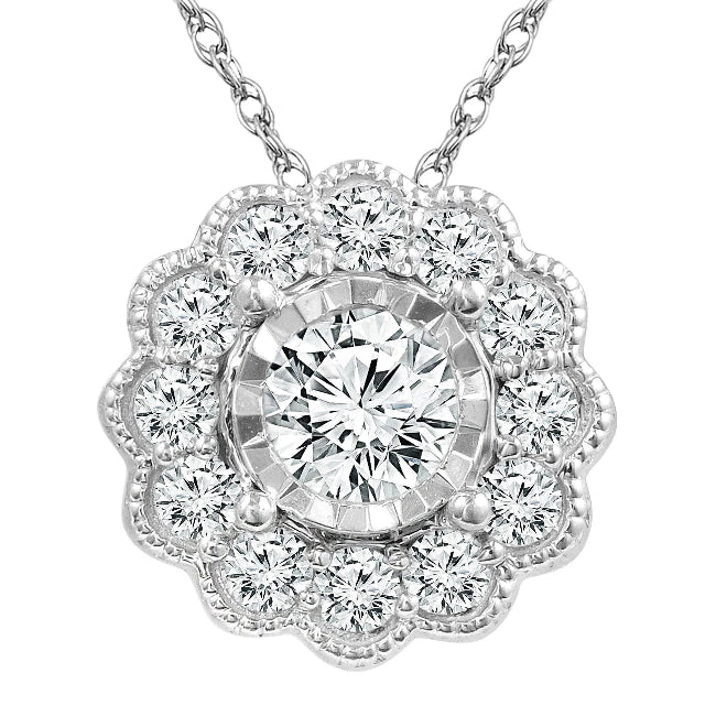 1/3 Carat Diamond Flower Pendant in 10K White Gold with Chain