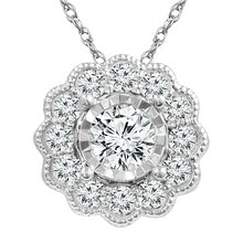 Load image into Gallery viewer, 1/3 Carat Diamond Flower Pendant in 10K White Gold with Chain