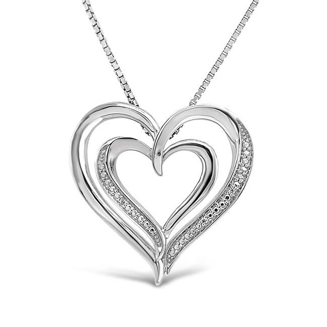 0.08 Carat Diamond Heart Pendant in Sterling Silver - 18""
