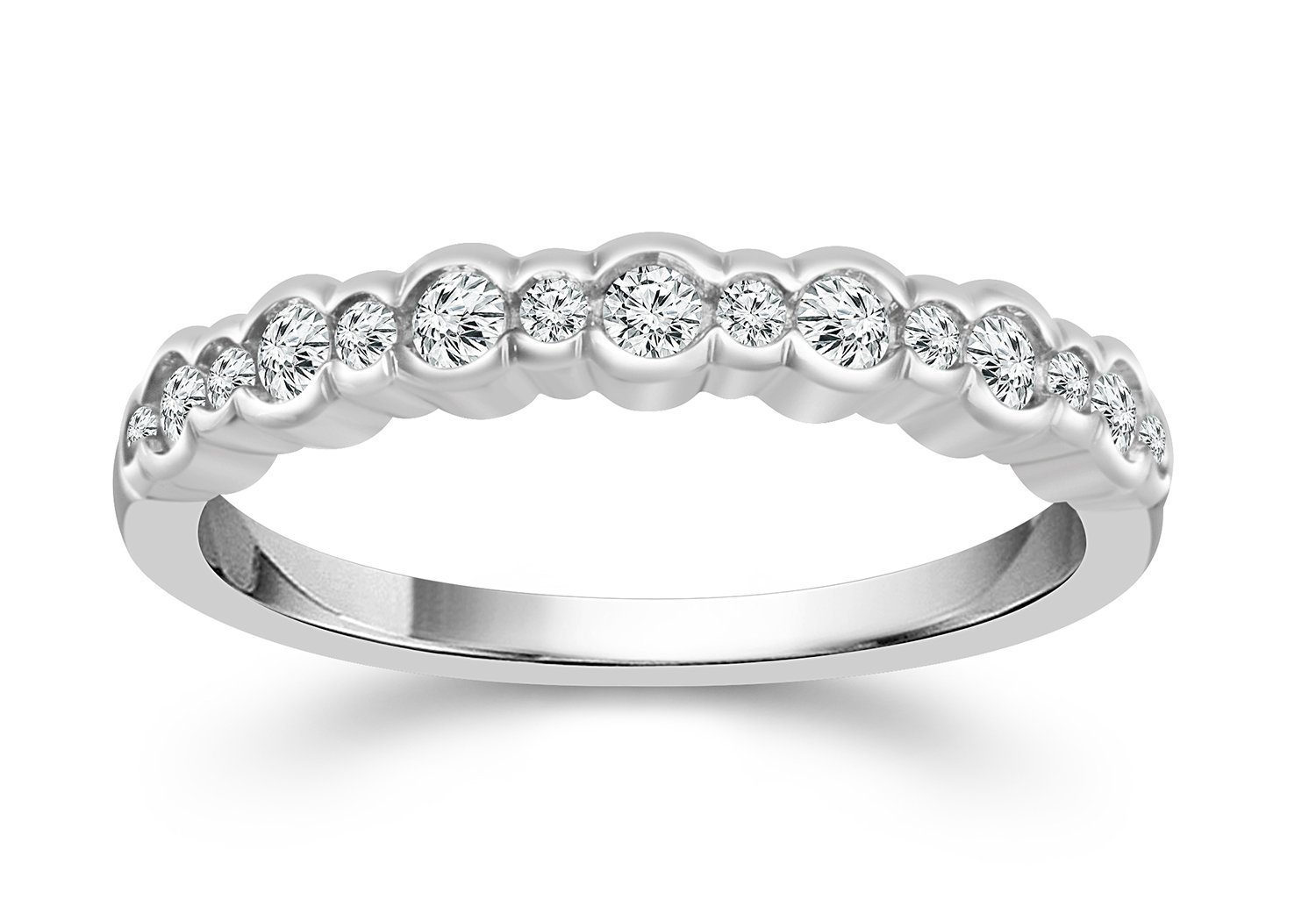 1/3 Carat Diamond Anniversary Band in 10K White Gold (HI/I1-I2)