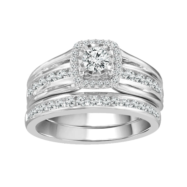 1.00 Carat Diamond Bridal Set in 10K White Gold - Size 7 (H-I, I1/I2)