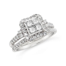 Load image into Gallery viewer, 1.00 Carat Princess Cut Quad Diamond Bridal Set in 10K White Gold (H-I,I1-I2)