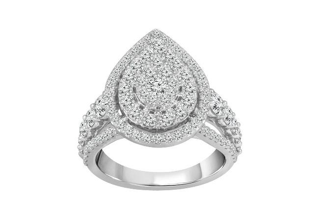 2.00 Carat Diamond Pear-Shaped Engagement Ring in 10K White Gold (H-I,I1-I2)