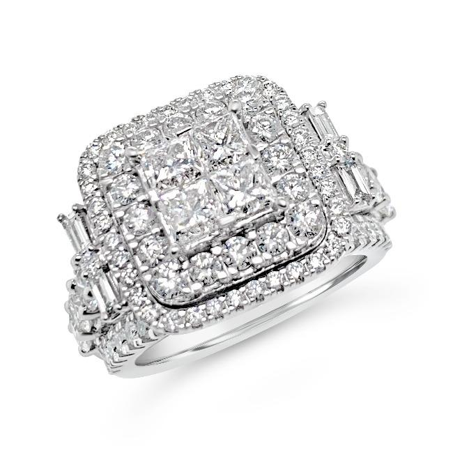 2.75 Carat Princess Cut Quad Diamond Engagement Ring in 14K White Gold (G-H,I1-I2)