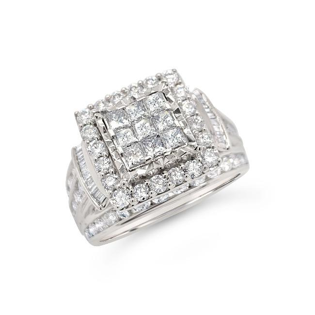 2.00 Carat Princess Cut Quad Diamond Engagement Ring in 10K White Gold (H-I,I1-I2)
