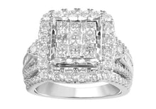 Load image into Gallery viewer, 2.00 Carat Princess Cut Quad Diamond Bridal Set in 10K White Gold (H-I,I1-I2)