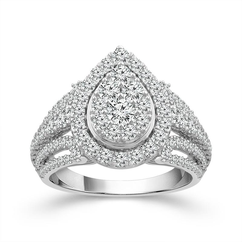 2.00 Carat Diamond Pear-Shaped Engagement Ring in 10K White Gold (G-H,SI)