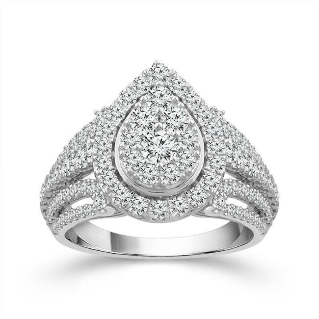 2.00 Carat Diamond Pear-Shaped Engagement Ring in 10K White Gold (G-H,I1-I2)