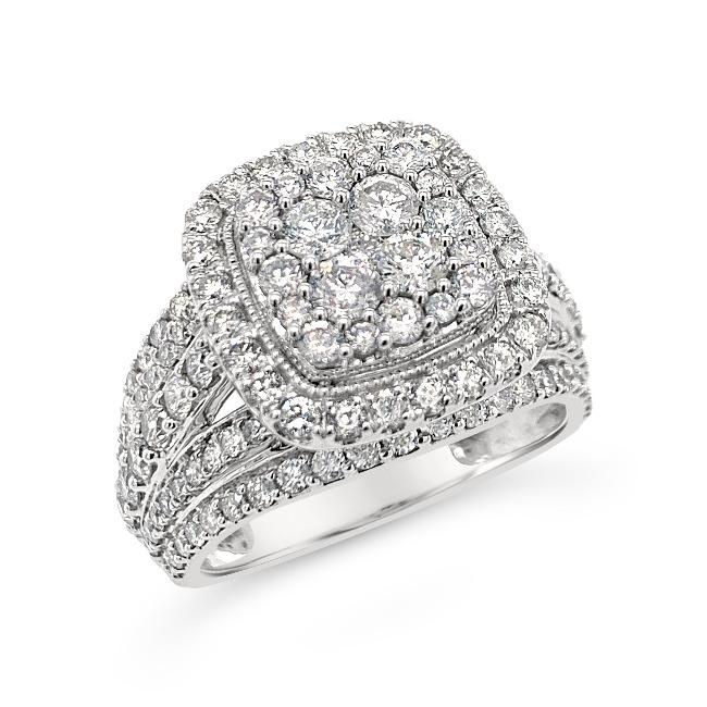 2.00 Carat Diamond Engagement Ring in 10K White Gold (H-I,I2)