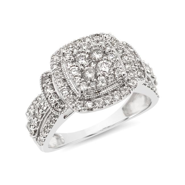 1.00 Carat Diamond Engagement Ring in 10K White Gold (H-I,I2)