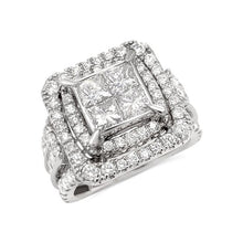 Load image into Gallery viewer, 3.00 Carat Princess Cut Quad Diamond Engagement Ring in 10K White Gold (G-H,I1-I2)