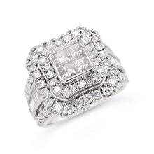 Load image into Gallery viewer, 2.00 Carat Princess Cut Quad Diamond Engagement Ring in 10K White Gold (H-I,I1-I2)