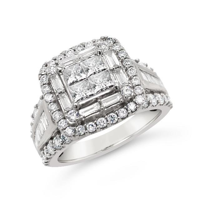 2.25 Carat Pincess Cut Quad Diamond Engagement Ring in 14K White Gold (G-H,I1-I2)