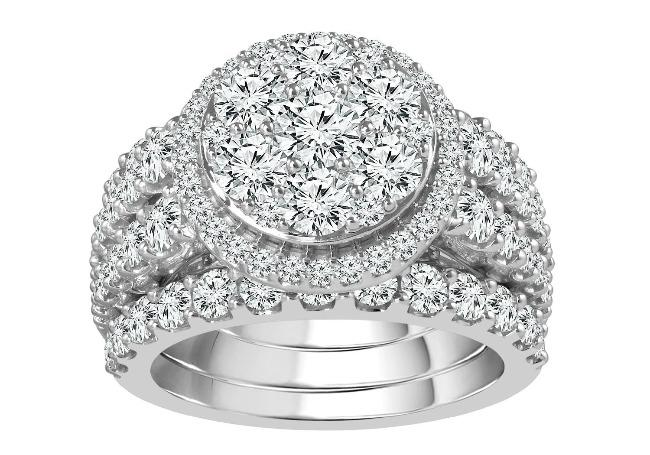 4.00 Carat Diamond Bridal Set in 14K White Gold (GH,I1)