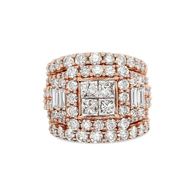 5.00 Carat Diamond Princess-Cut Quad Bridal Set in 14K Rose Gold (GH/I1-I2)