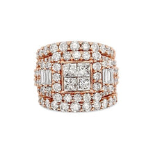 Load image into Gallery viewer, 5.00 Carat Diamond Princess-Cut Quad Bridal Set in 14K Rose Gold (GH/I1-I2)