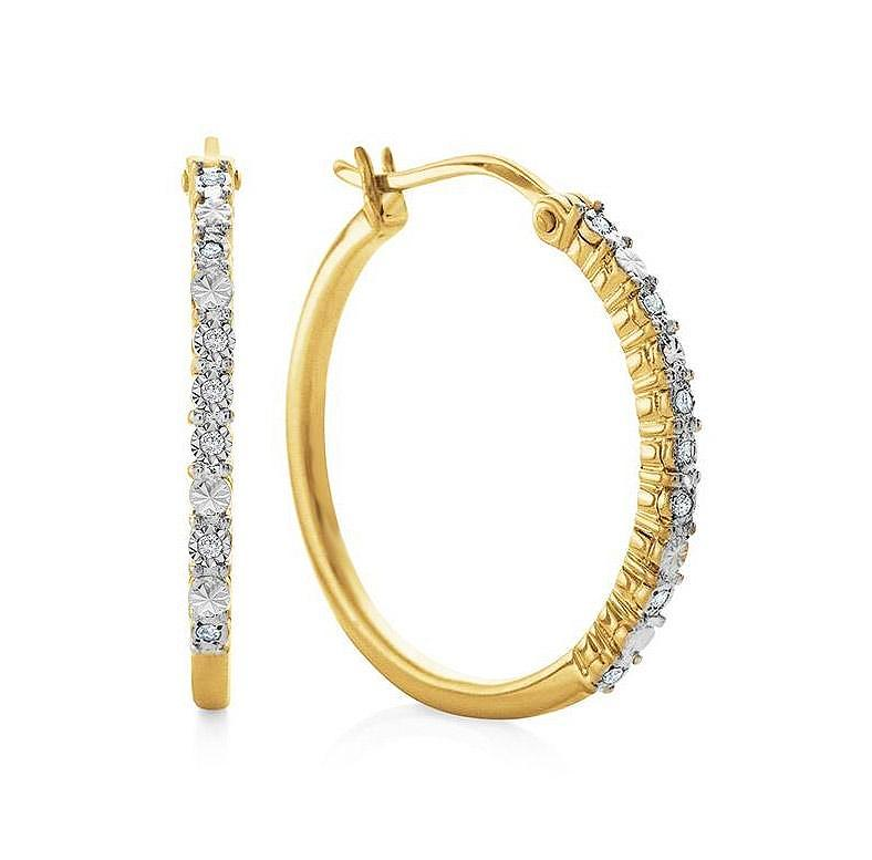 Diamond Miracle Set Hoop Earrings in 14K Yellow Gold/Sterling Silver
