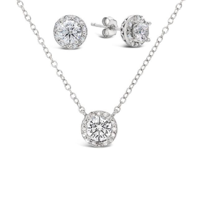 3.00 Carat White Sapphire & Diamond Halo Necklace & Earrings Set in Sterling Silver