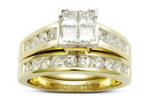Load image into Gallery viewer, 1.50 Carat Princess Cut Quad Diamond Bridal Set in Two-Tone 14K Gold (G-H,I1)