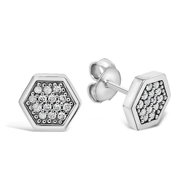 1/6 Carat Diamond Hexagon Cluster Earrings in 10K White Gold