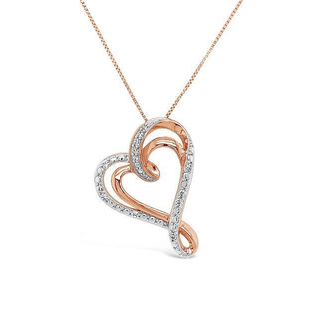 1/10 Carat Diamond Heart Pendant in Rose Gold-Plated Sterling Silver