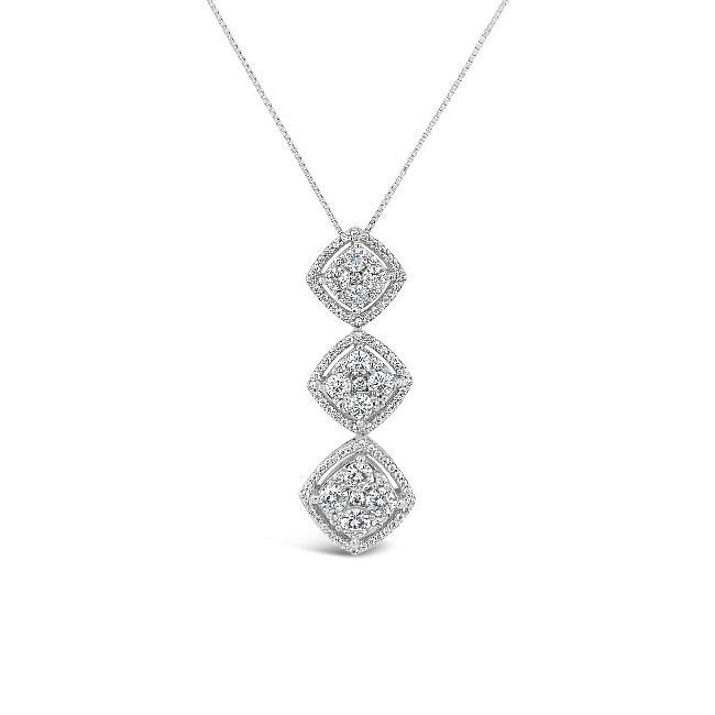 1.26 Carat Diamond Halo Drop Pendant in 10K White Gold
