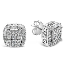Load image into Gallery viewer, 1/2 Carat Square Cluster Earrings in 10K White Gold