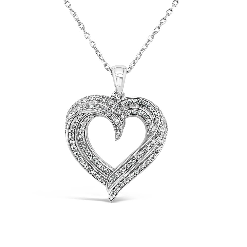 0.40 Carat Diamond Heart Pendant in Sterling Silver - 18""