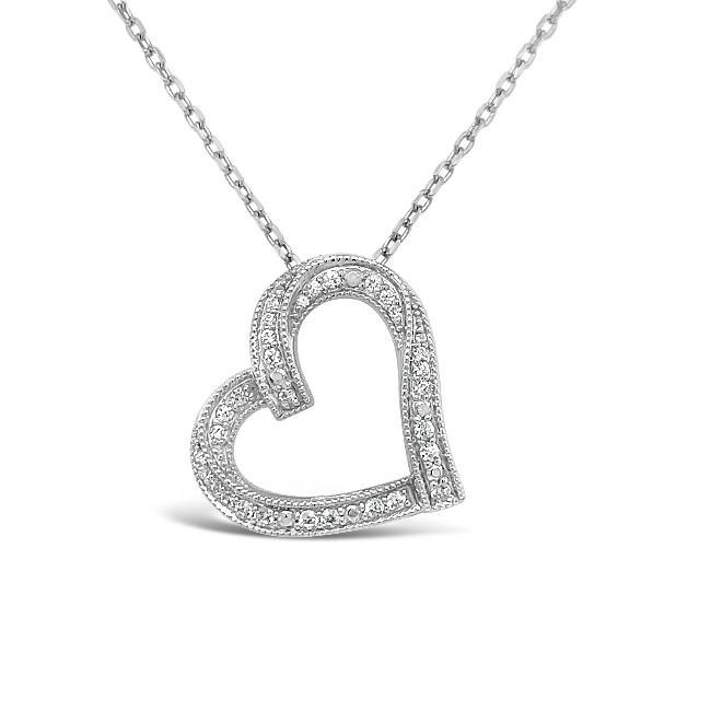 1/4 Carat Diamond Heart Pendant in Sterling Silver - 18""