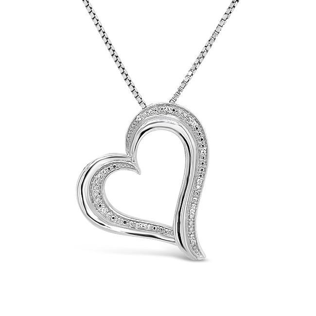 1/10 Carat Diamond Heart Pendant in Sterling Silver - 18""