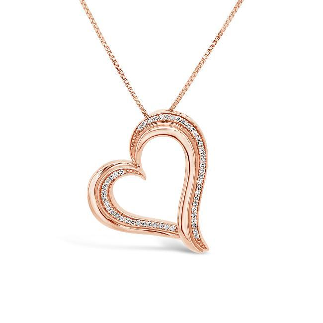 1/6 Carat Diamond Heart Pendant in Rose Gold-Plated Sterling Silver - 18""