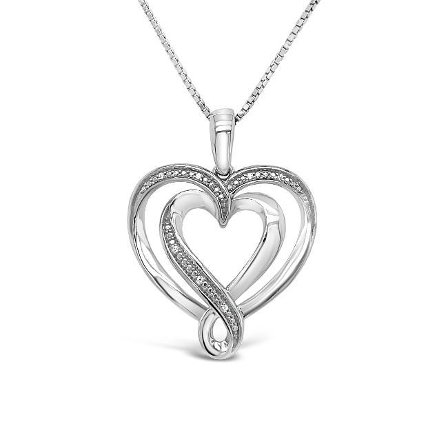 0.08 Carat Diamond Heart Pendant in Sterling Silver - 18
